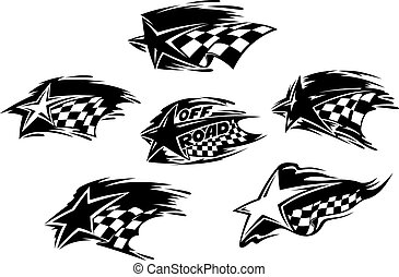 Black and white racing motor sport icons - Set of black and...