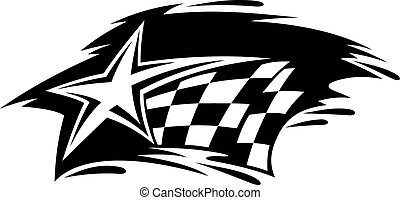 Racing icon with flag and star for motorsport design