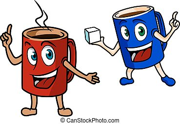 Two happy cartoon mugs of coffee, one red one pointing to...