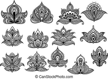 Large set of ornate floral paisley motifs - Large set of...