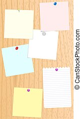 Memo board with paper notices