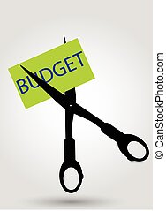 hand draw, sketch of budget cutting at gray