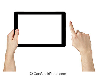 adult man hands using generic tablet pc with white screen,...