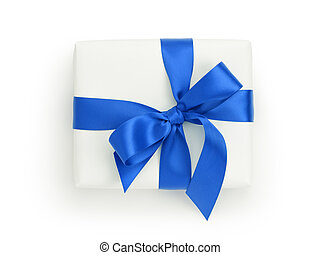 white gift box with blue ribbon bow, from above