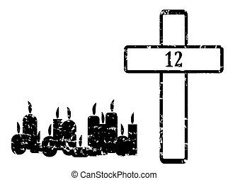 Black Cross with 12 candles and sign 12 - illustration