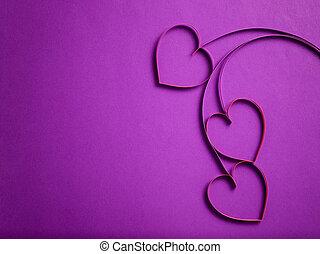 quilling, papier, serca, podobny, Kwiecie,
