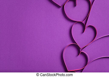 quilling paper hearts like flowers, valentines day...