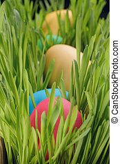Easter eggs in a row on the grass, closeup photo