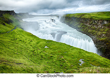 Gulfoss is a powerful Icelandic waterfall. It is located in...