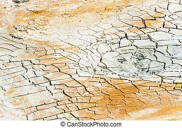 Cracked ground near mudpot - Cracked ground in the...