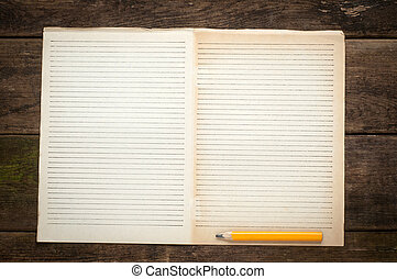 Blank Note Book page With Wood Pencil on Table Desk...