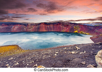 Ljotipollur lake - Sunset over Ljotipollur lake in the...