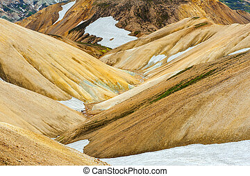 Landmannalaugar - Beautiful multicolored mountains at...