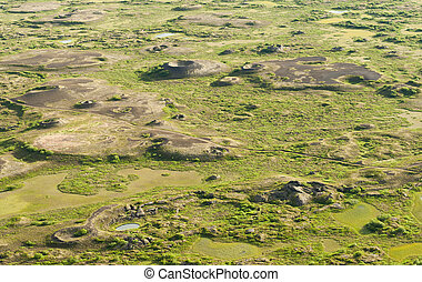 Pseudocraters - View at pseudocraters from the Vindbelgur...