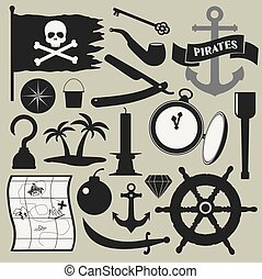 pirates icons set