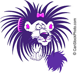 Purple lion - Crazy purple lion character with a bad hair...