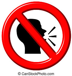 Do Not Speak 3d sign - Do not speak 3d sign isolated in...