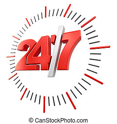 24/7 Sign (clipping path included) - 24/7 Sign. Image with...