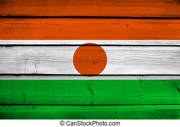 Niger Flag on wood background
