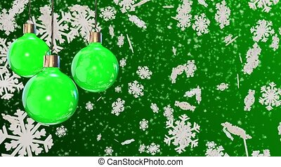 Christmas decorations on a green