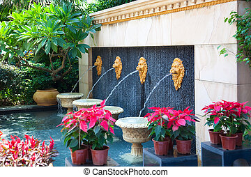 Ornamental garden - Fountains in Villa with tree and flowers...