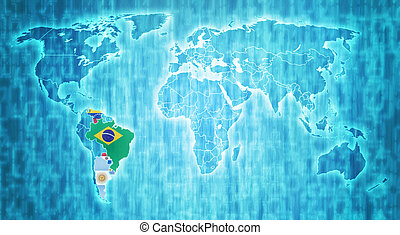 Mercosur territory on world map - Mercosur members flags on...