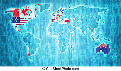 OECD territory on world map - OECD flag on blue digital...