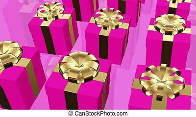 Dark pink Gift boxes on a pink