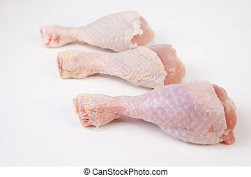 Raw chicken little legs - Chicken thighs or legs isolated...