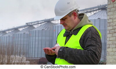 Worker counting coins near