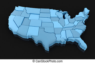 USA (clipping path included) - Map of USA. 3d render Image....