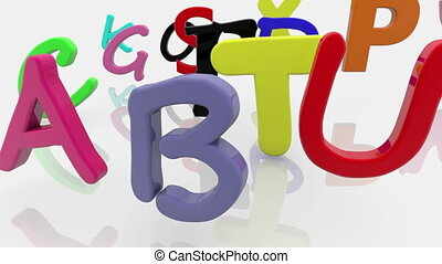 Colorful mixed different letters on white background