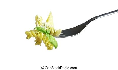 pasta fork with pesto oil parmesan basil and pine nuts