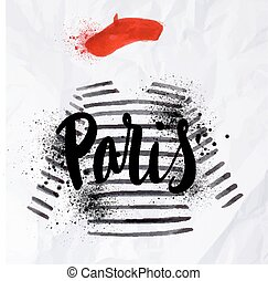 Paris poster striped sweater - Paris poster with a red beret...