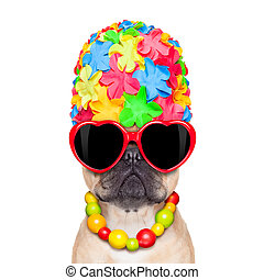 tropical vacation dog - fawn french bulldog dog ready for...