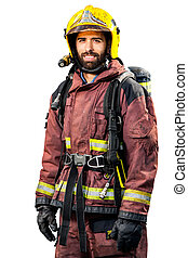 Fireman in fire fighting gear. - Fireman in fire fighting...