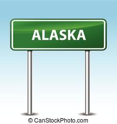 Illustration of alaska green metal road sign