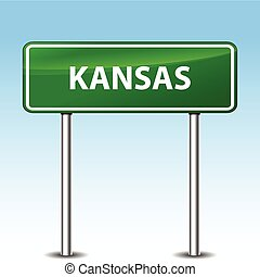 kansas green sign - Illustration of kansas green metal road...