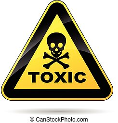 toxic sign - illustration of yellow triangle sign for...