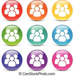 peoples icons - collection of icons of different colors for...