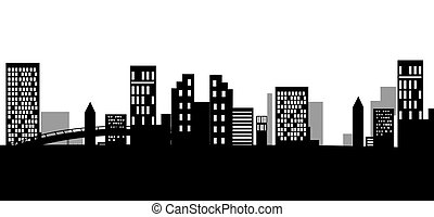urban silhouette - illustration drawing of black urban...
