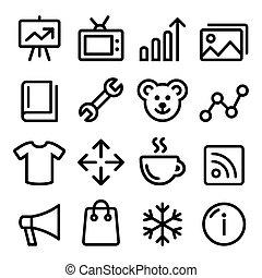 Web menu navigation line icons set
