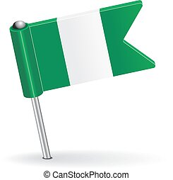 Nigerian pin icon flag Vector illustration Eps 8