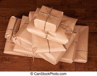 vindima, PRESENTE, pacote, ligado, madeira,...