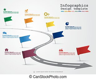 Infographics with elements and icons Vector - Timeline...