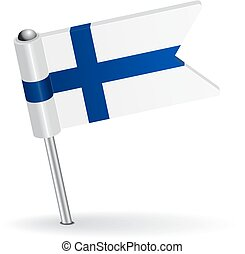 Finnish pin icon flag. Vector illustration Eps 8.