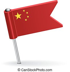 Chinese pin icon flag. Vector illustration Eps 8.