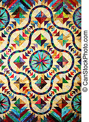 Stained Glass Quilt Pattern - A handmade quilt in stained...