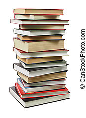 Stack of books - High stack of books isolated on white...