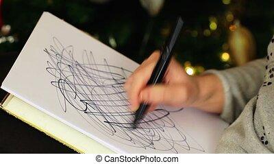 Depressive woman streaking paper